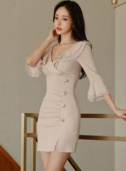V-neck Flare Sleeve Falbala Bodycon Mini Dress