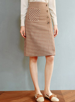 High Waisted Plaid Split A Line Skirt