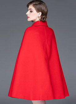 Lapel Double-breasted Cloak Coat
