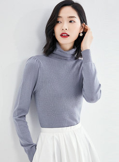 Solid Color High Collar Slim Sweater