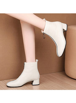 White Round Head Chunky Heel Leather Boots