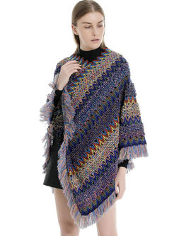 Color-blocked Fringed Shawl Scarf