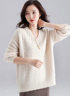 Solid Color V-neck Openwork Loose Sweater