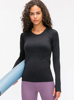 O-neck Slim Thumb Hole Gym T-shirt
