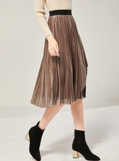 Lace Mesh Patchwork Velvet Pleated Skirt