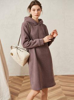 Casual Hooded Shift Sweatshirt Dress