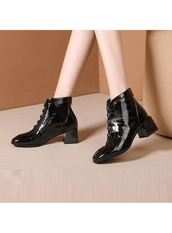 Square Heel Short Plush Tie Zipper Leather Boots