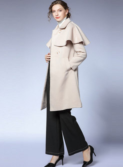 Solid Color Patchwork Cloak Overcoat
