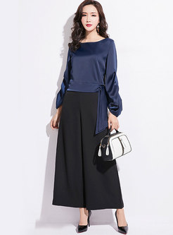 Solid Color O-neck Lantern Sleeve Tie Loose Blouse