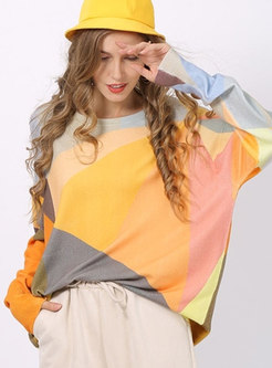 O-neck Color-blocked Loose Pullover Sweater