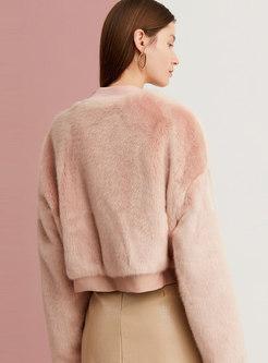 V-neck Straight Short Faux Fur Jacket