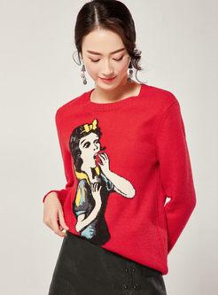 O-neck Cartoon Print Pullover Sweater