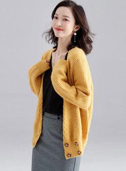 Solid Color V-neck Loose Cardigan