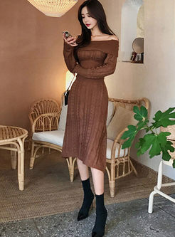 Slash Neck A Line Midi Sweater Dress