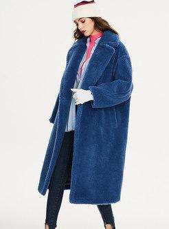 Blue Turn Down Collar Long Teddy Coat