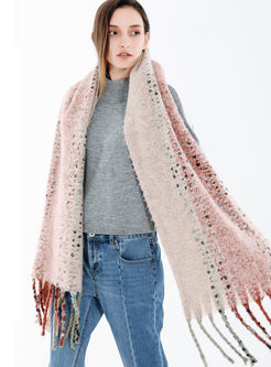 Color-blocked Soft Fringed Cashmere Scarf
