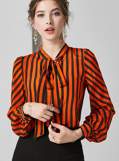 Tie Neck Striped Color-blocked Zip-up Silk Blouse