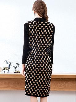 Stand Collar Dot Loose Sweater Dress