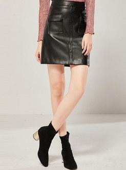High Waisted A Line PU Skirt
