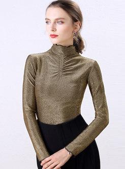 Solid Color Turtleneck Slim Pleated T-shirt
