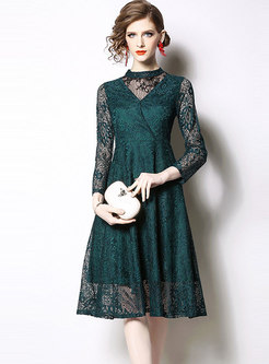 Lace Openwork Patchwork High Waisted Skater Dress