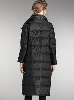 Lapel Straight Puffer Coat With Pockets