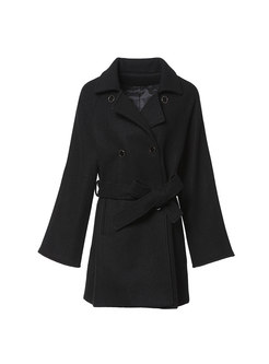 Black Turn Down Collar Double-breasted Coat