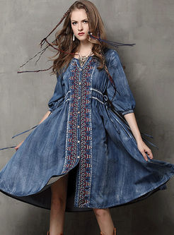 Plus Size Embroidered Denim Skater Dress
