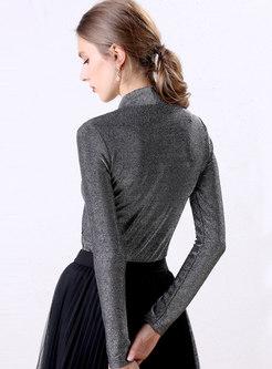 V-neck Slim Bright Silk Pullover T-shirt