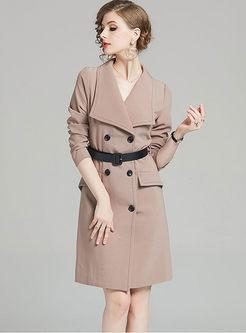 Lapel Slim Bodycon Dress With Belt