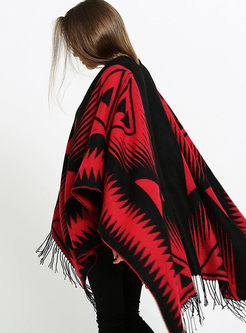 Color-blocked Fringed Faux Cashmere Scarf