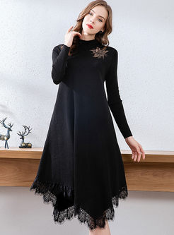 Long Sleeve Asymmetric Fringed Sweater Dress