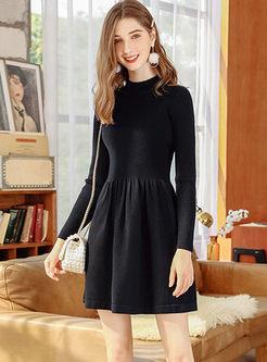 Solid Color Sweater Mini Dress