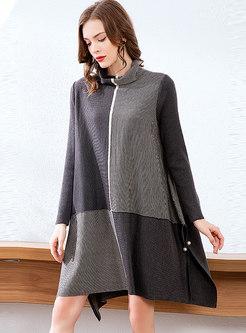 Turtleneck Color-blocked Patchwork Loose Sweater Dress