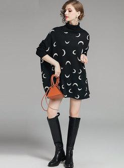 Turtleneck Color-blocked Cloak Loose Sweater