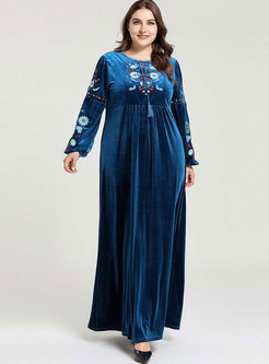 Plus Size Long Sleeve Embroidered Maxi Dress