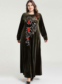 Long Sleeve Embroidered Plus Size Maxi Dress