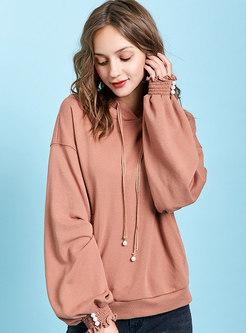 Solid Color Lantern Sleeve Loose Hooded Sweatshirt