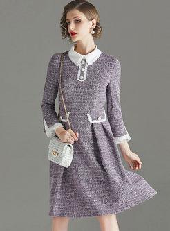 Lapel Flare Sleeve Patchwork A Line Dress