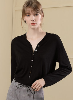 V-neck Single-breasted Pullover Straight Sweater