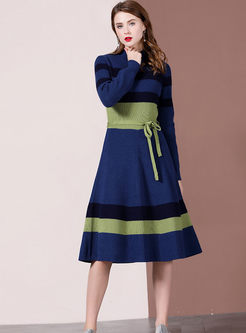 Half Turtleneck Long Sleeve Sweater Dress