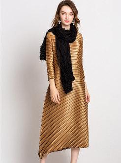 Irregular Striped Color-blocked Pleated Shift Dress