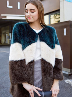 Crew Neck Color-blocked Faux Fur Coat