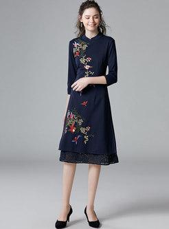 Mandarin Collar Embroidered Patchwork Lace Skater Dress