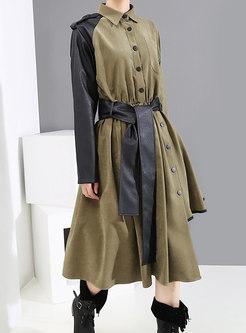 Lapel Patchwork Asymmetry Waist T-shirt Dress With Belt
