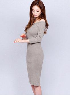 Solid Color Slash Collar Bodycon Sweater Dress