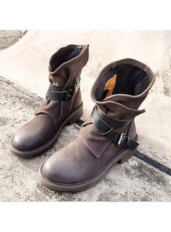 Round Head Leather Flat Martin Boots