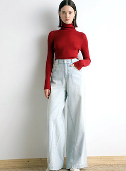 Red Turtleneck Slim Pullover Sweater