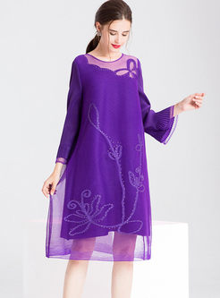 Crew Neck Long Sleeve Shift Dress