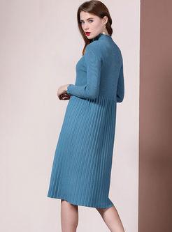 Half Turtleneck A Line Sweater Dress